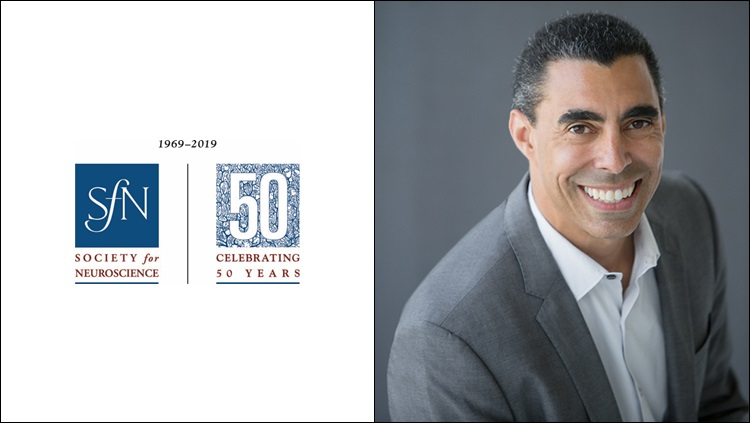 Image of SfN's 50th anniversary logo next to Bill Martin's headshot
