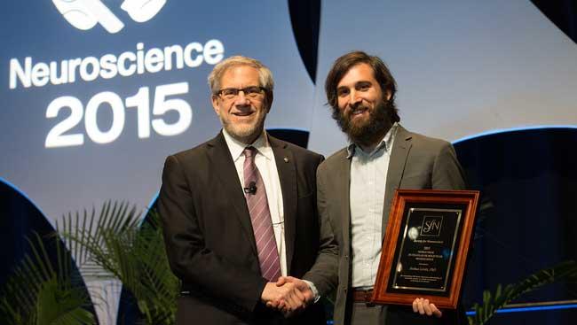 Joshua Levitz accepts the Nemko Prize in Cellular or Molecular Neuroscience Award.