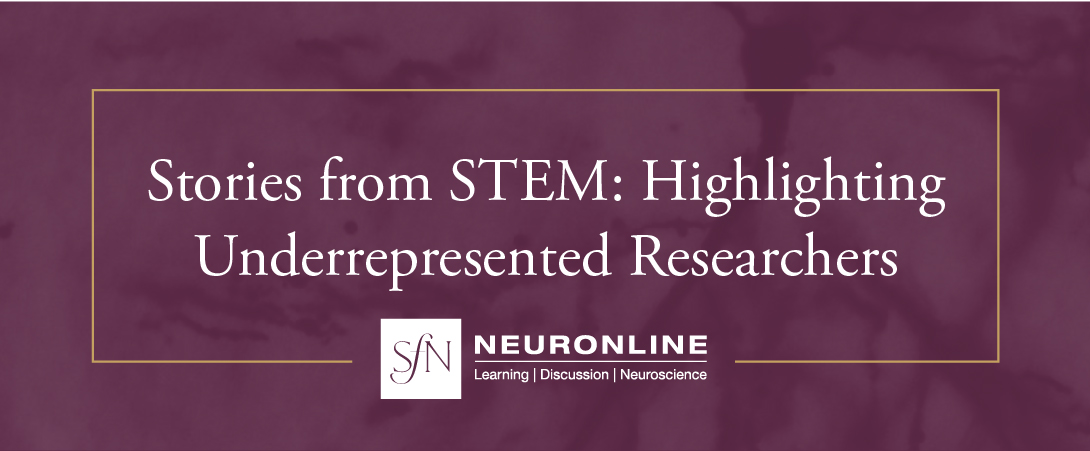 "Graphic the reads ""Stories from STEM: Highlighting Underrepresented Researchers"" over a plum colored background."