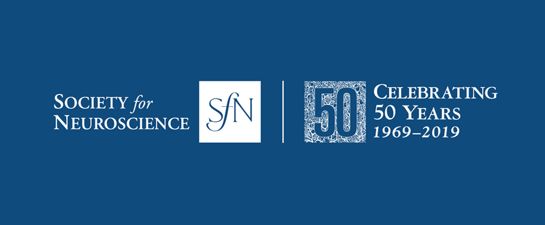 "SfN 50 year anniversary logo with white text on a blue background stating: ""Society for Neuroscience: Celebrating 50 Years"""