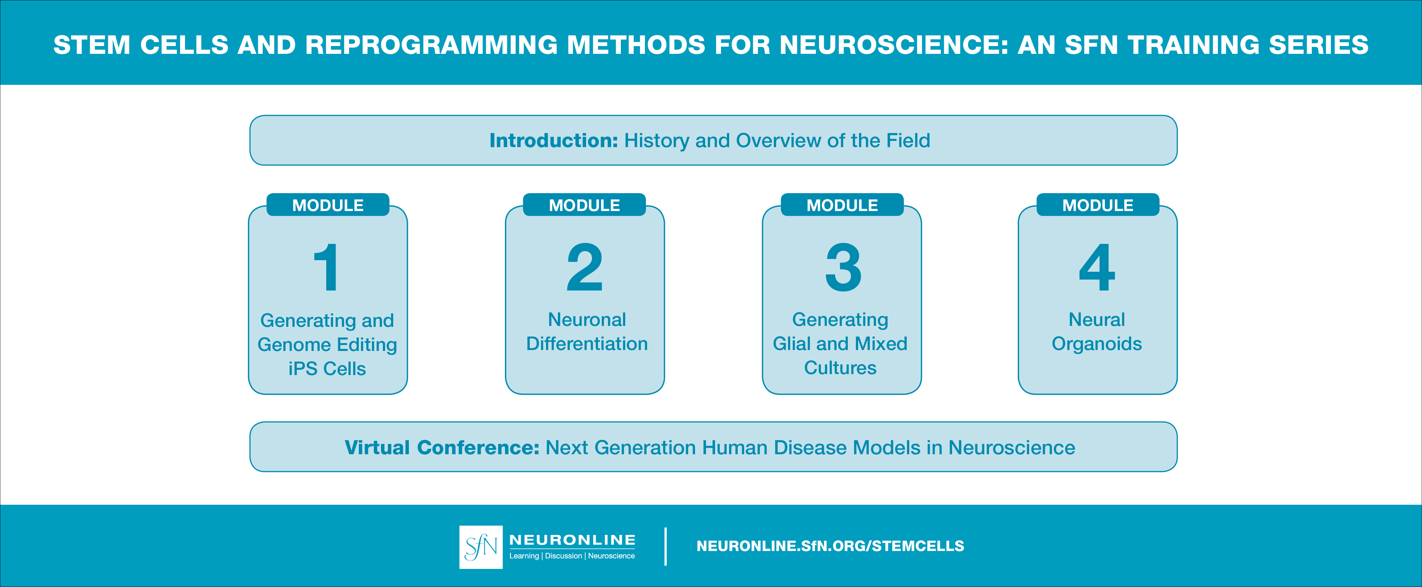 Layout of SfN's Training Series: Stem Cells and Reprogramming Methods for Neuroscience