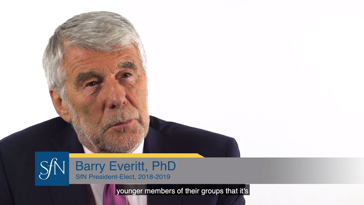 Barry Everitt sits in front of a white backdrop and talks about building a scientific culture that supports women.