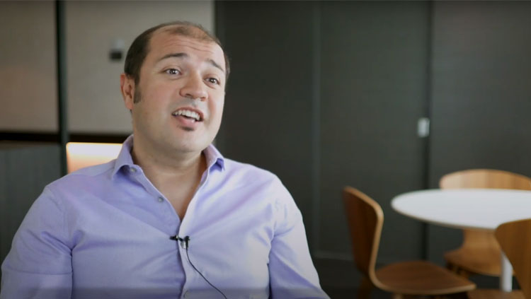 Image of Emre Yaksi during an interview