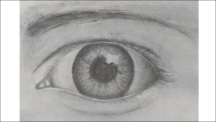 Drawing of a human eye using pencil done by Andrea Morgan.
