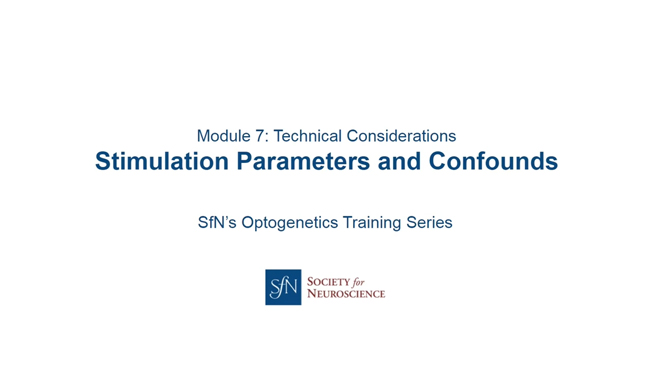 Technical Considerations — Stimulation Parameters and Confounds title image with SfN logo