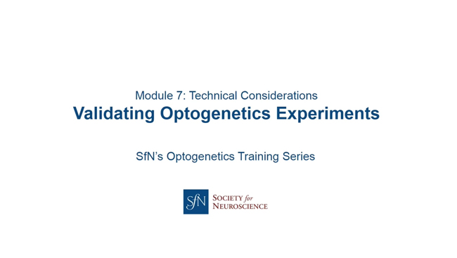Validating Optogenetics Experiments title image with SfN logo.