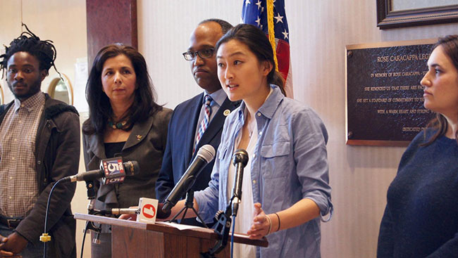 Jenn Laura Lee advocating for Raise the Age legislation at a press conference in Long Island, NY.