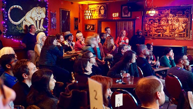 Photo of audience at Franky Bradley's during taste of science provided by Hemalatha Muralidharan.