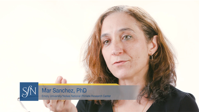Image of Mar Sanchez speaking to an interviewer (off camera).