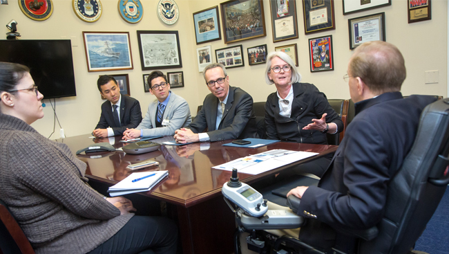 Photo of several people sitting around a conference table from SfN's Capitol Hill Day 2018.