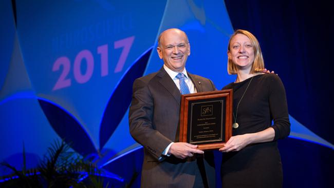 Paula Croxson receiving the Science Educator Award in 2017.