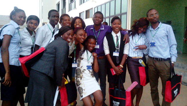 Students of Imo State University, Owerri and Obafemi Awolowo University Ile-Ife, pose for a picture at a Neuroscience Conference in Owerri, Nigeria.