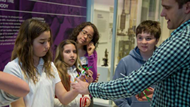 Photo from a workshop engaging children about neuroscience