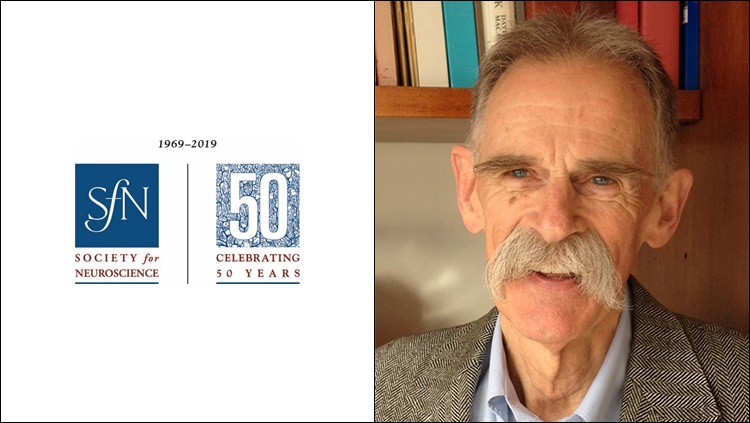 Left: SfN 50th anniversary logo. Right: headshot of Nick Spitzer.