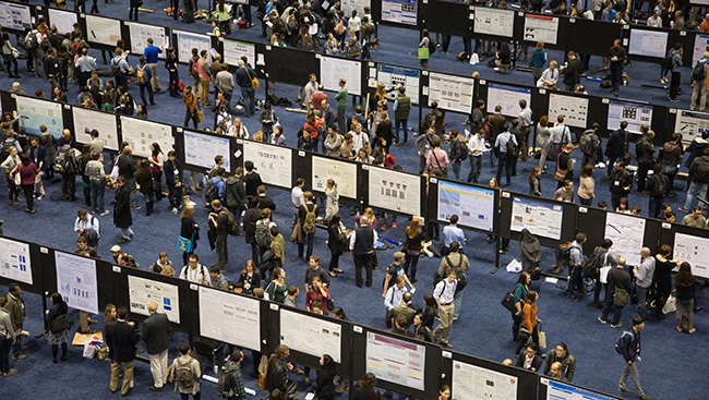 Neuroscientists network and share science at a conference.