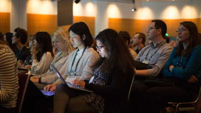 Neuroscientists attend a conference.