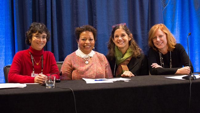 From left to right: Indira Raman, Joanne Berger-Sweeney, Marina Picciotto, and Tracy Bale