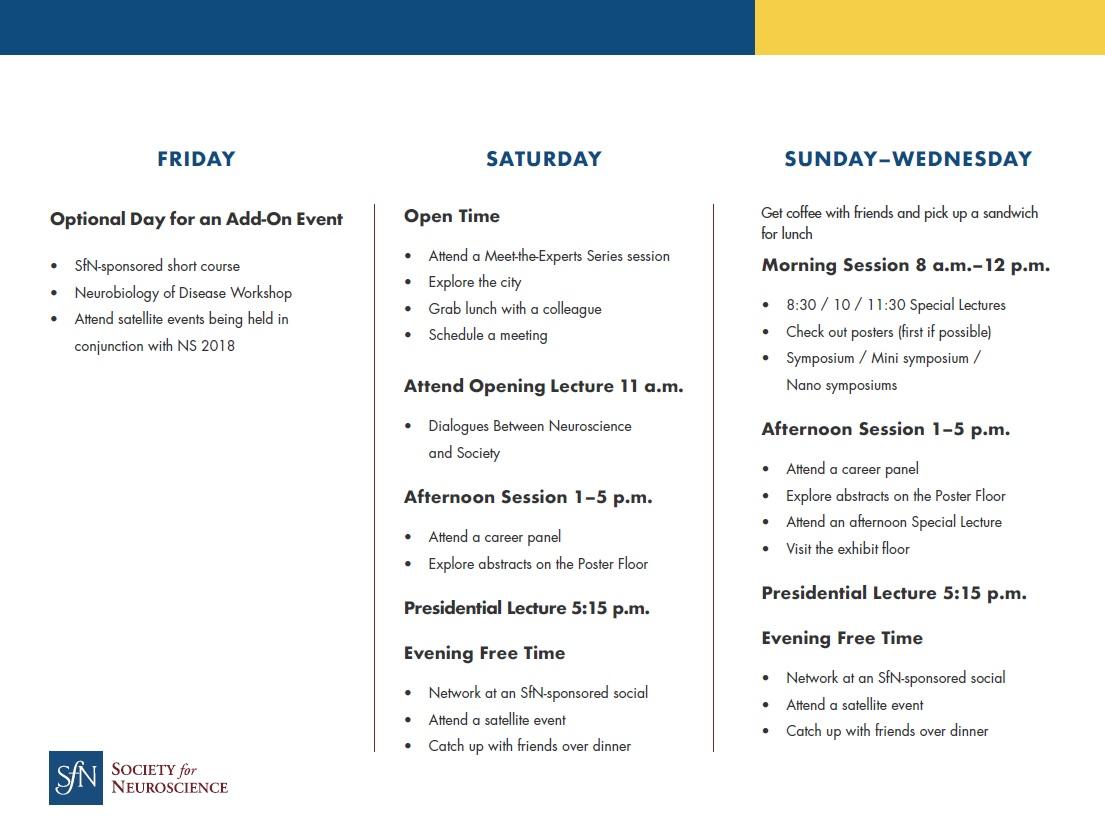 Sample SfN meeting itinerary