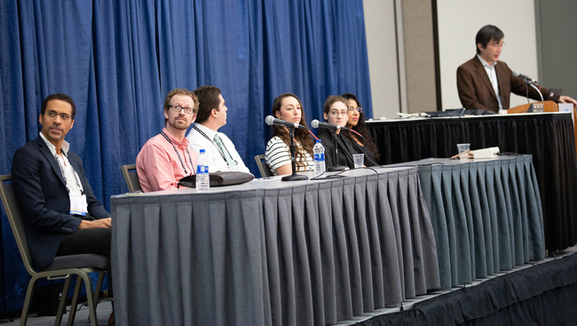 """""""Cultivating Leadership in Multidisciplinary Research,"""" Professional Development Workshop panel (from L-to-R: Erich Jarvis, Alexander McCampbell, Andreas Pfenning, Lauren Shalmiyev, Stephanie Marcus, Sadye Paez, Atsushi Iriki)"""