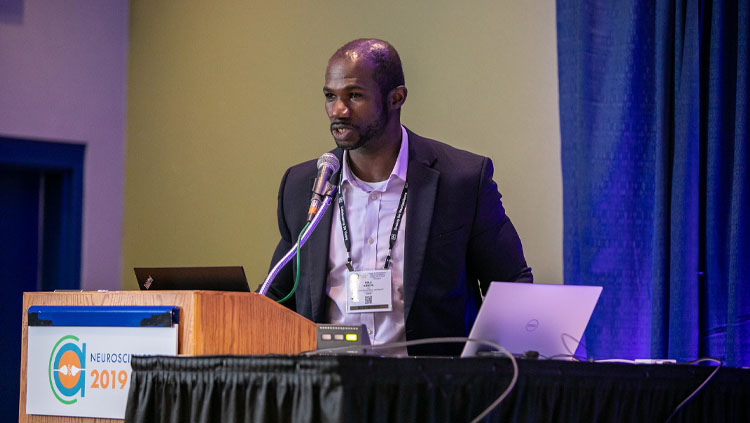 A. Bolu Ajiboye speaking during the Navigating Team Science Professional Development Workshop at Neuroscience 2019