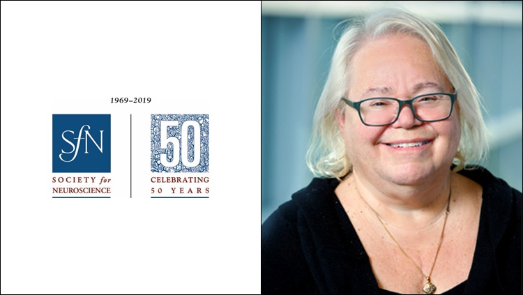 Headshot of Eve Marder next to the SfN 50th anniversary logo