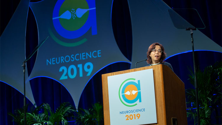 Fei-Fei Li giving the 2019 Dialogues Between Neuroscience and Society lecture