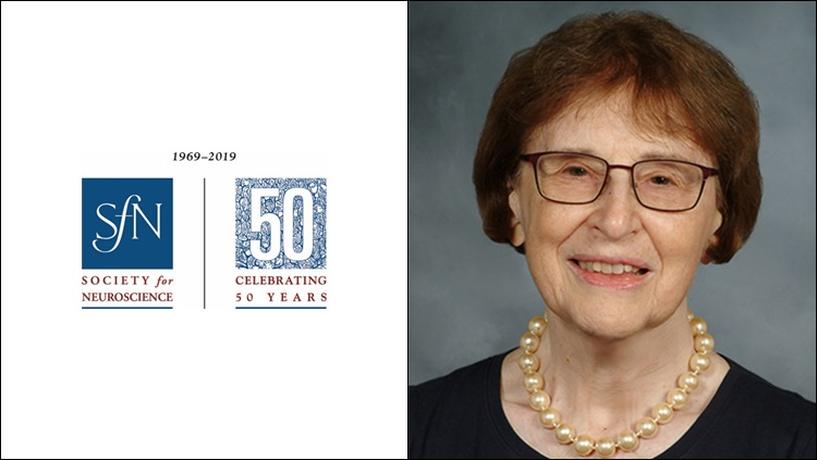 Headshot of Bernice Grafstein next to the SfN 50th anniversary logo