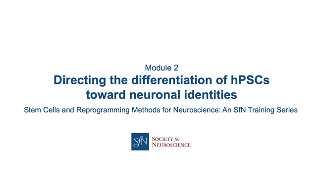 Title card for presentation, Directing the Differentiation of hPSCs Toward Neuronal Identities