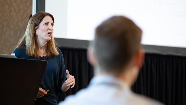 Linda Overstreet-Wadiche talks during a Meet-the-Expert session at Neuroscience 2018.