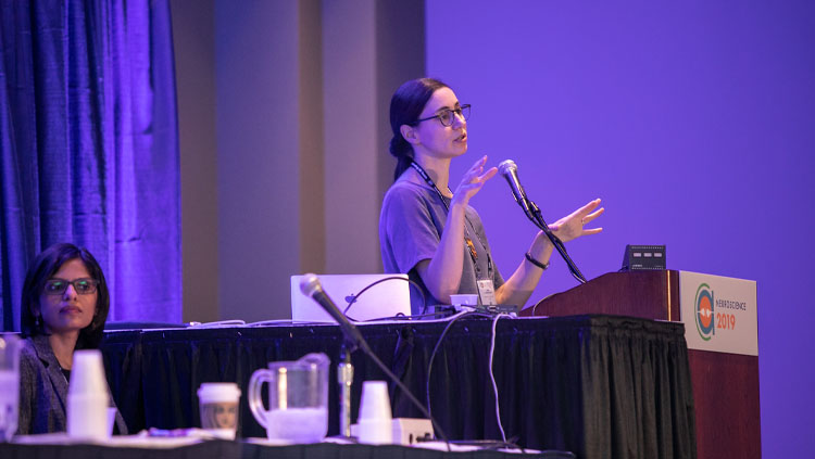 One panelist sits at a table while another speaks at the podium at Neuroscience 2019.