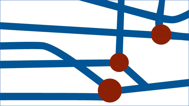a white background with blue lines and red dots.