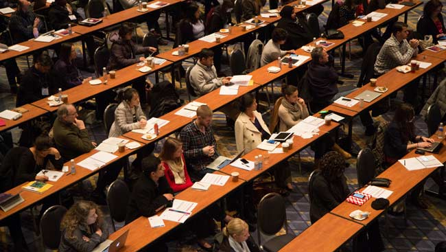 Students attend a lecture.