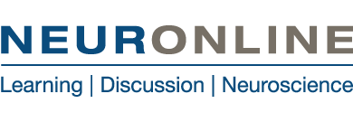 "Neuronline logo with Neuronline written in blue and gold text. Below the word Neuronline reads ""Learning,  Discussion, Neuroscience"""